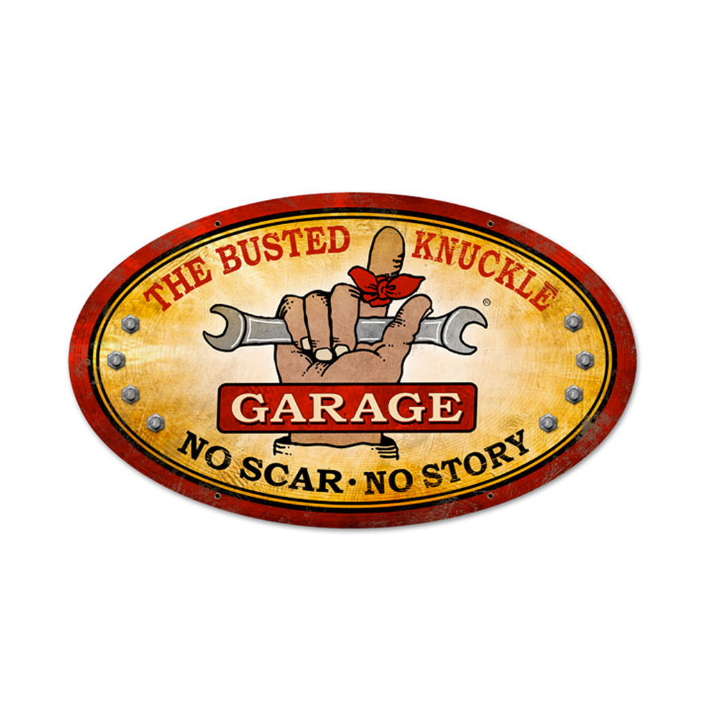 Busted Knuckle Garage Sign Oval
