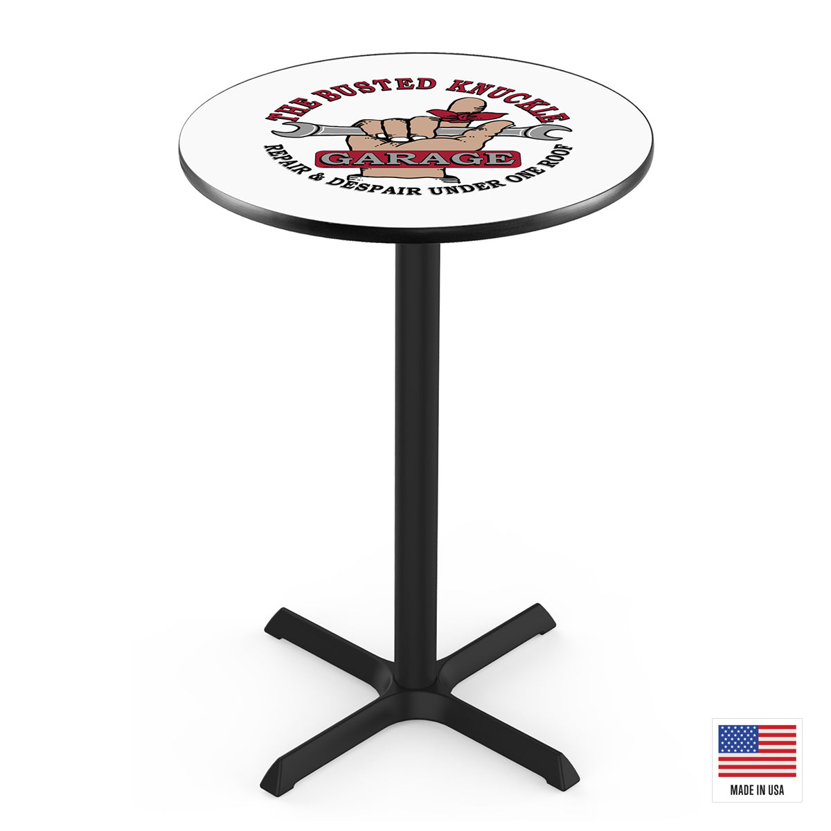 The Busted Knuckle Garage Logo Pub Table