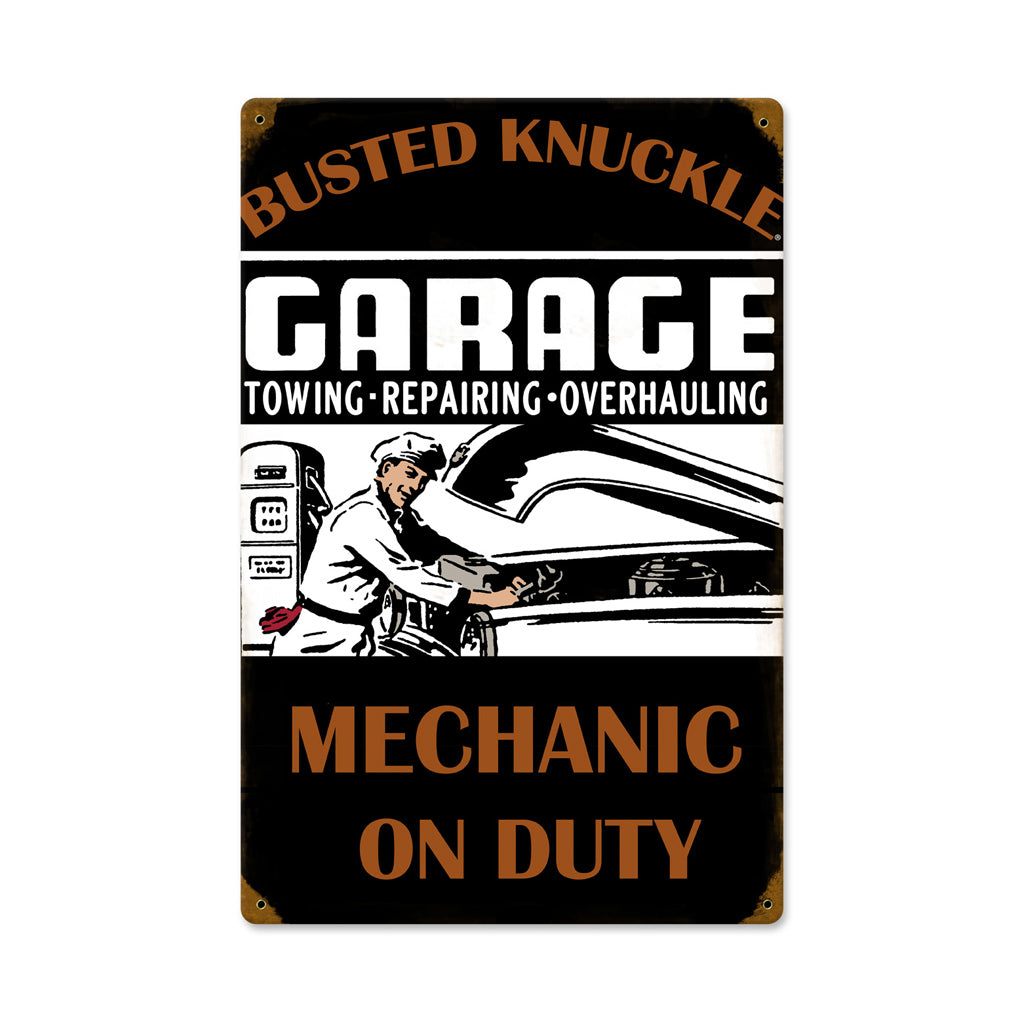 Busted Knuckle Garage Mechanic On-Duty Shop Sign