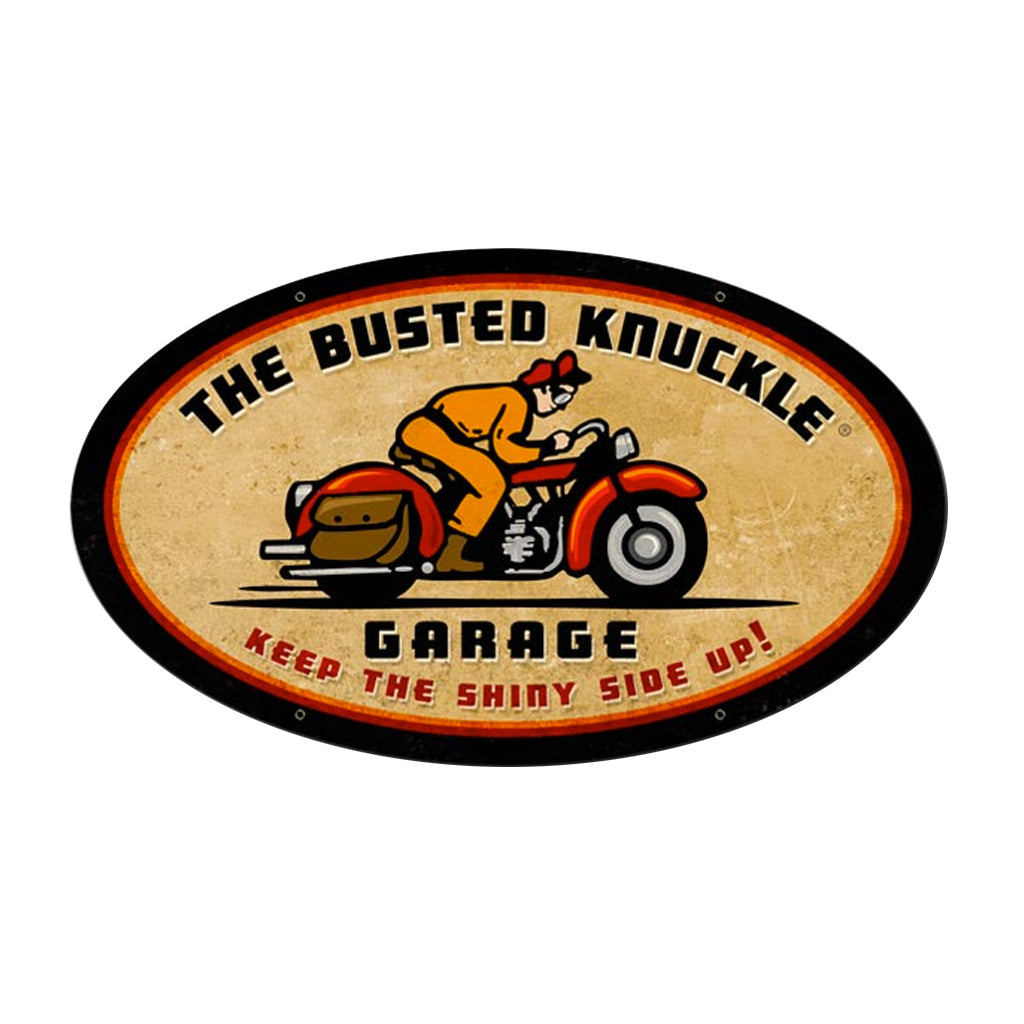 Busted Knuckle Garage Vintage Motorcycle Oval Sign