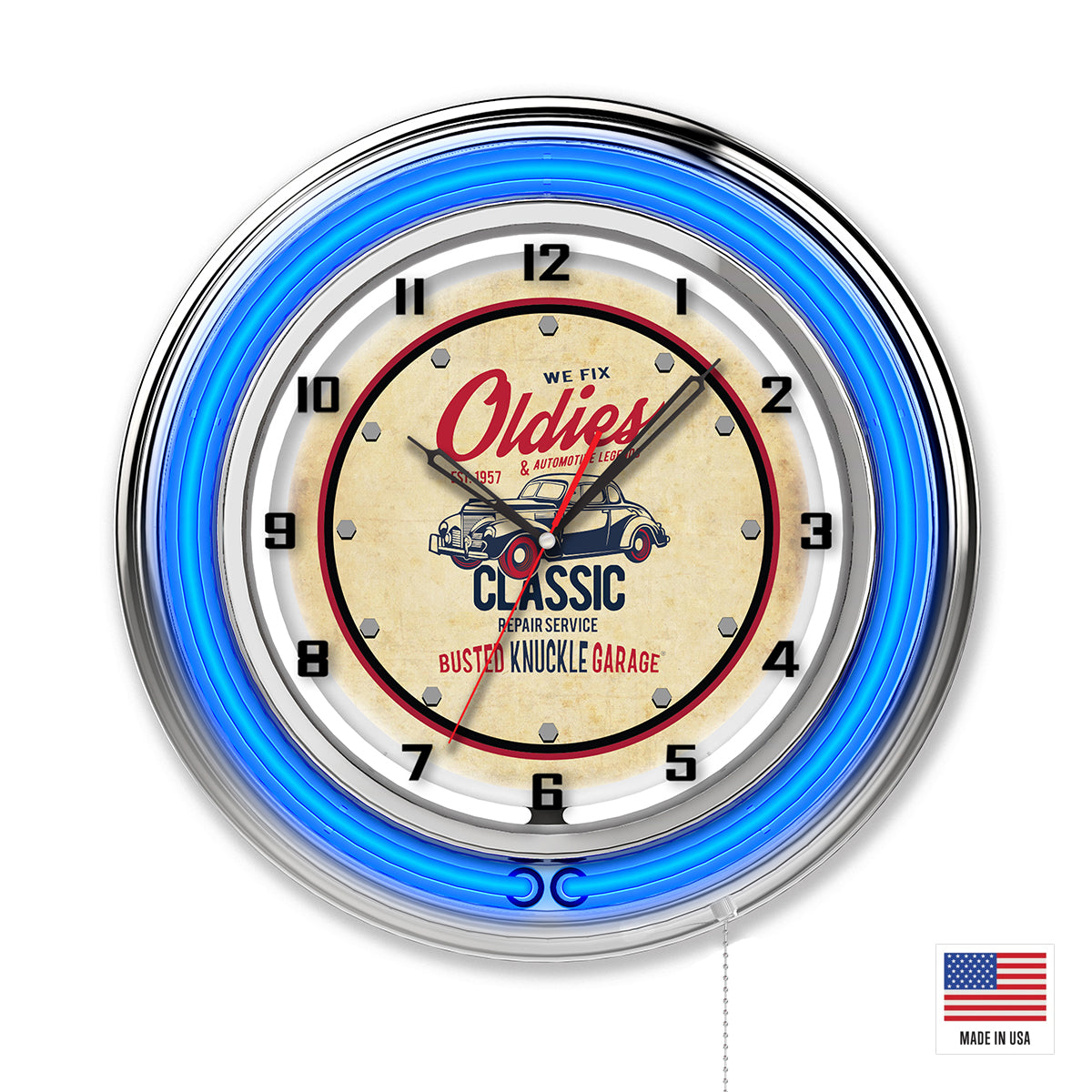 Classic Car Repairs Clock - Blue Neon
