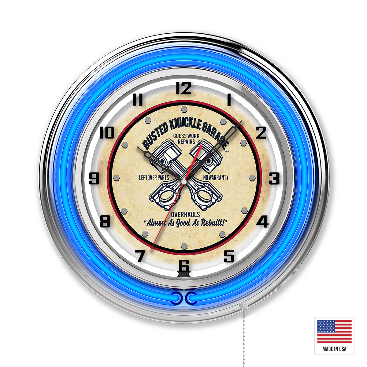 Guesswork Repairs Garage Clock - Blue Neon