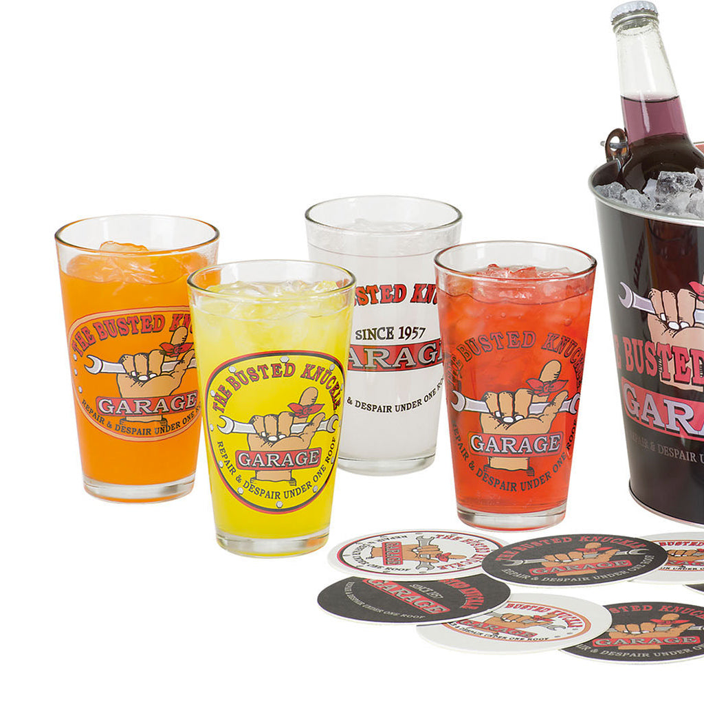 Car Guy Gift Bucket Set with Pub Glasses & Coasters