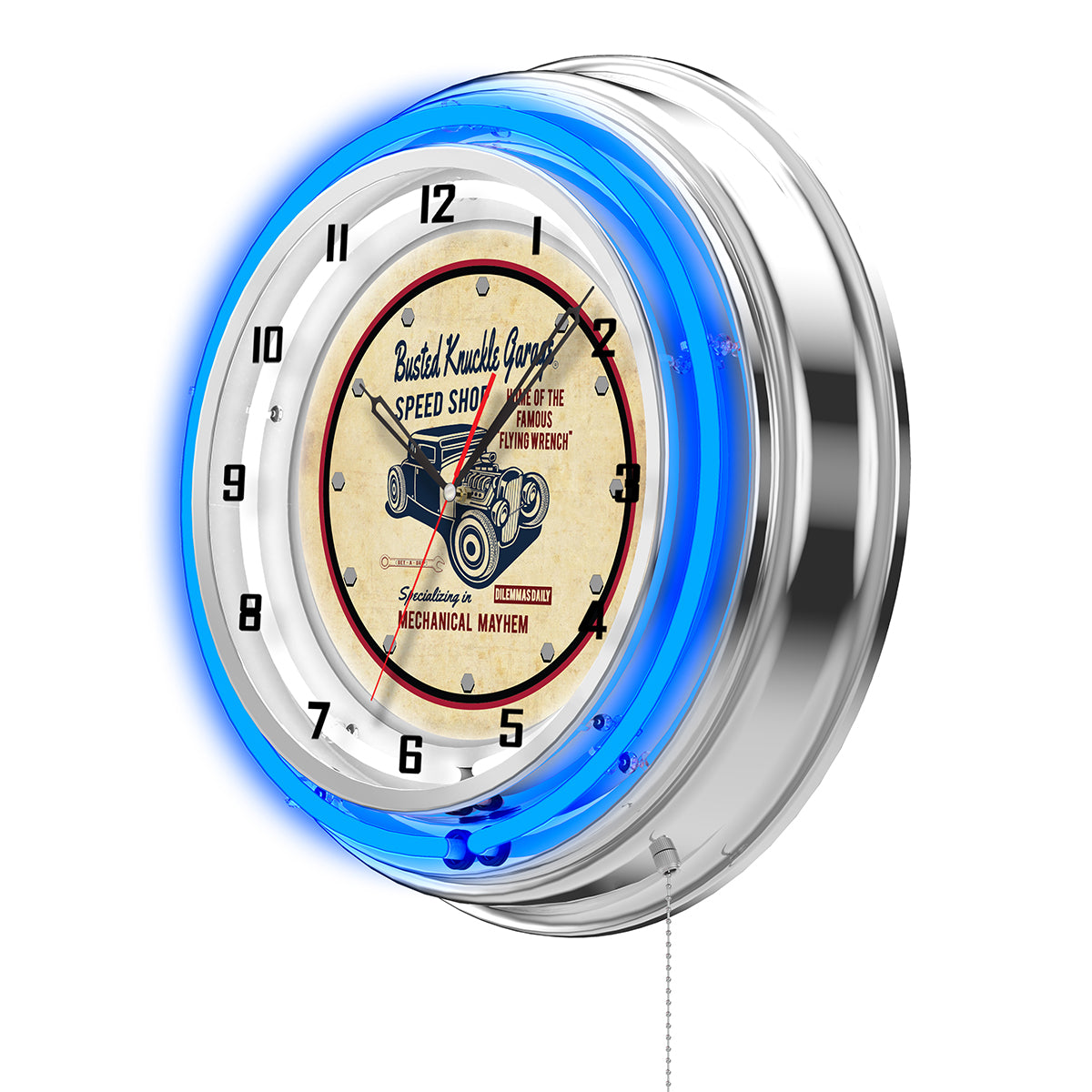 Road Devil Speed Shop Clock - Blue Neon