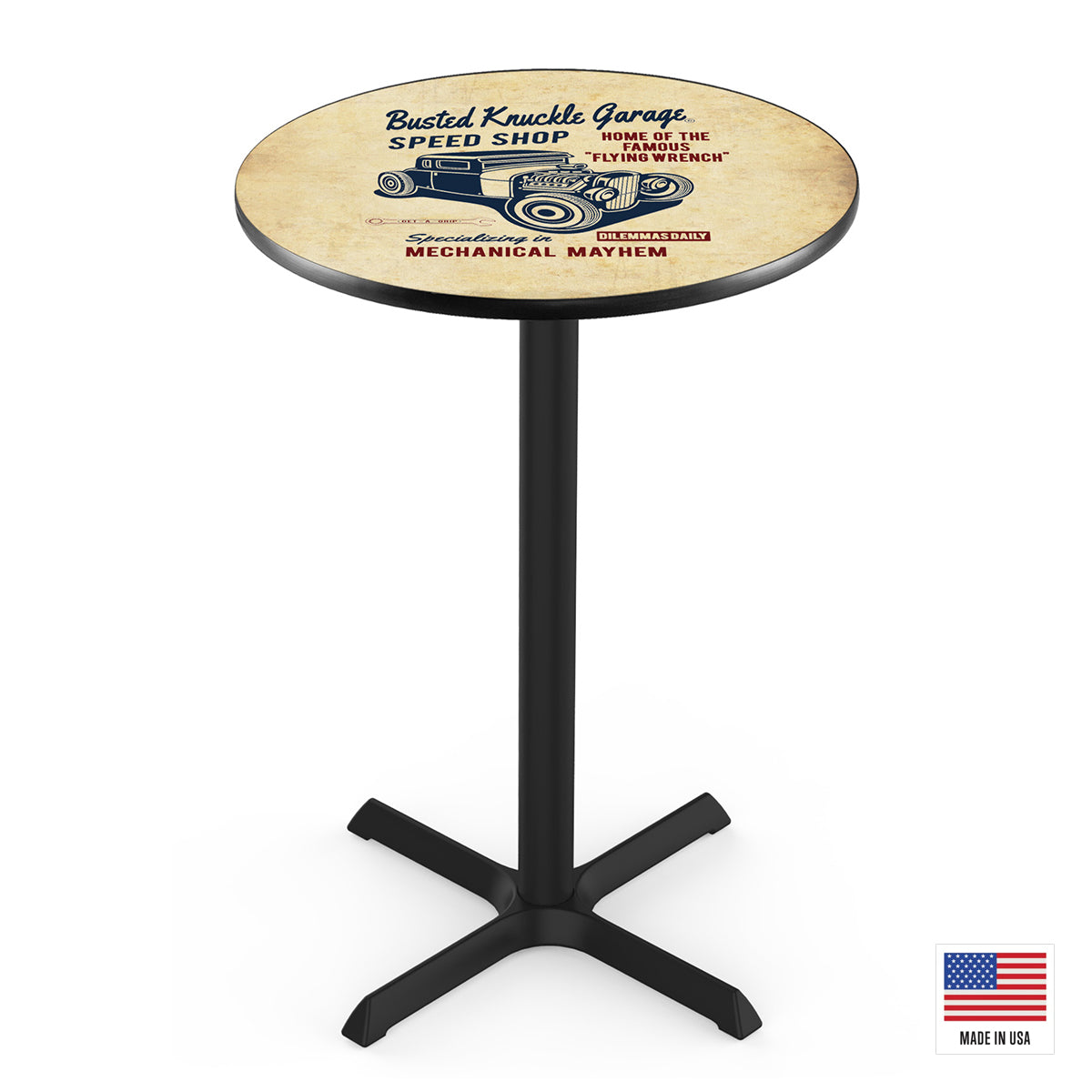 Road Devil Speed Shop Vintage Pub Table
