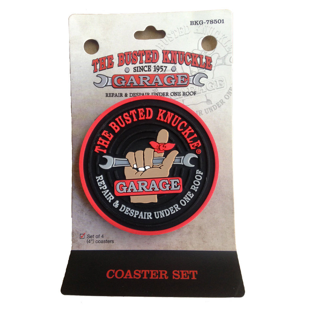 Busted Knuckle Garage Rubber Coaster Set