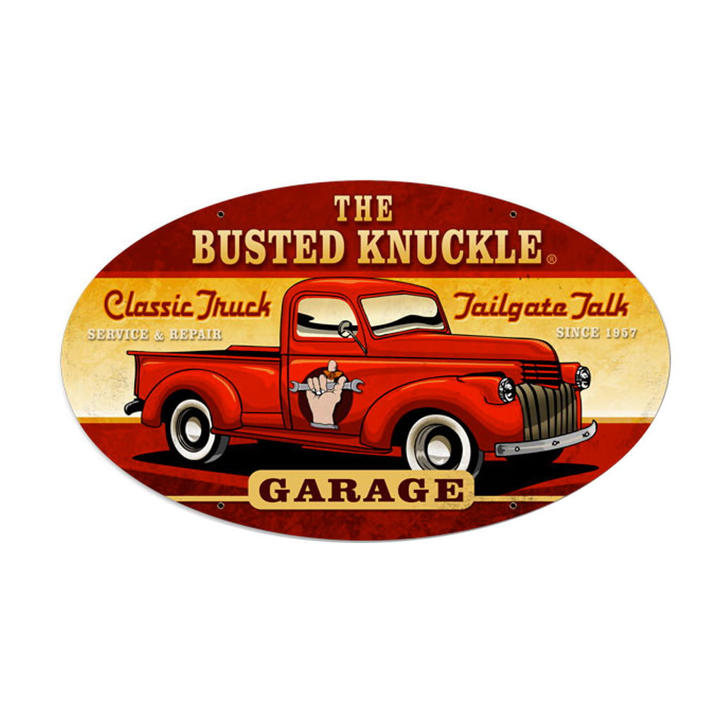 Busted Knuckle Garage Vintage Pickup Truck Oval Garage Sign