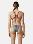 COSTUME DONNA AKRON ITALIA NUOTO PISCINA SKULLY FLOWER