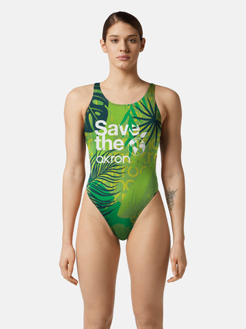 COSTUME DONNA AKRON ITALIA NUOTO PISCINA SAVE THE FOREST