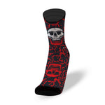CALZE LITHE BLACK FLUID RUNNING BIKE CROSSFIT SOCKS RED SKULL