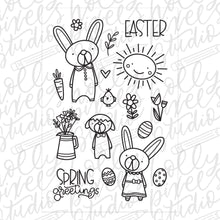 Load image into Gallery viewer, Spring Bunnies Easter Clear Stamps by Holly Pixels