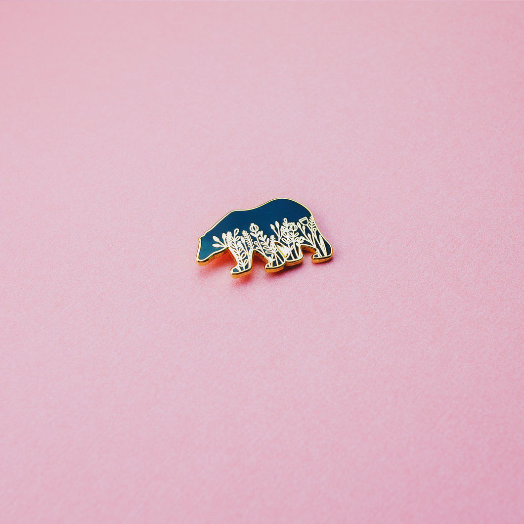 Floral Bear Enamel Pin