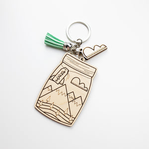 Mountain Mason Jar Adventure Laser Engraved Keychain by Holly Pixels
