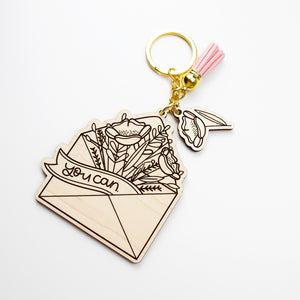 You Can Envelope with Flowers Laser Engraved Keychain by Holly Pixels