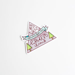 The Hardest Climb Mountain Vinyl Sticker by Holly Pixels