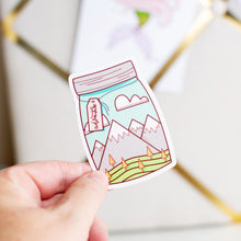 Load image into Gallery viewer, Adventure in a Mason Jar Mountains Vinyl Sticker by Holly Pixels
