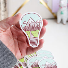 Load image into Gallery viewer, Outdoors Lightbulb Great Idea Mountains Vinyl Sticker by Holly Pixels