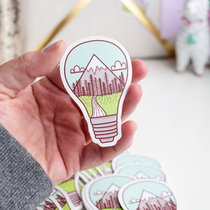 Outdoors Lightbulb Great Idea Mountains Vinyl Sticker by Holly Pixels