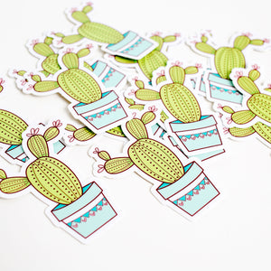 Prickly Cactus Plant Vinyl Sticker by Holly Pixels