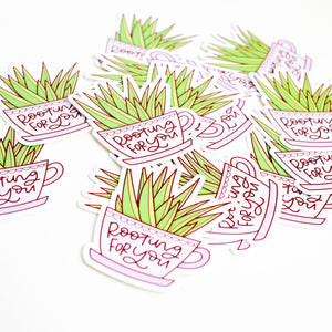 Rooting For You Plant Vinyl Sticker by Holly Pixels
