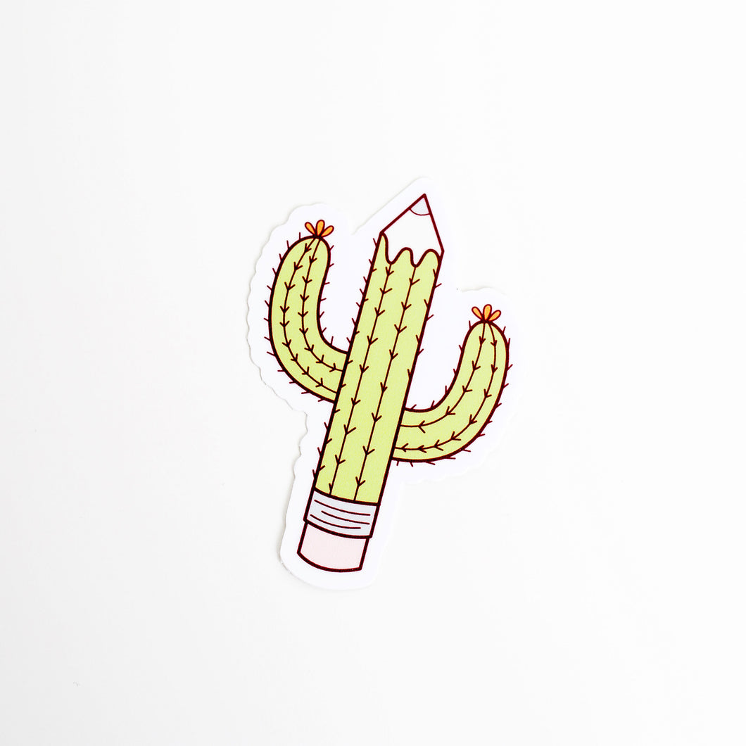 Creative Block Cactus Pencil Artist Vinyl Sticker by Holly Pixels