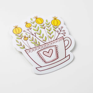 Floral Teacup Vinyl Sticker by Holly Pixels