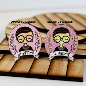 Ruth Bader Ginsberg Enamel Pin Seconds (Color Skin Off)