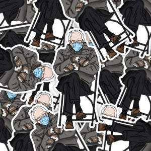 Grumpy Bernie Sticker | Bernie Sanders Sticker | Inauguration Sticker | Die Cut Sticker by Holly Pixels