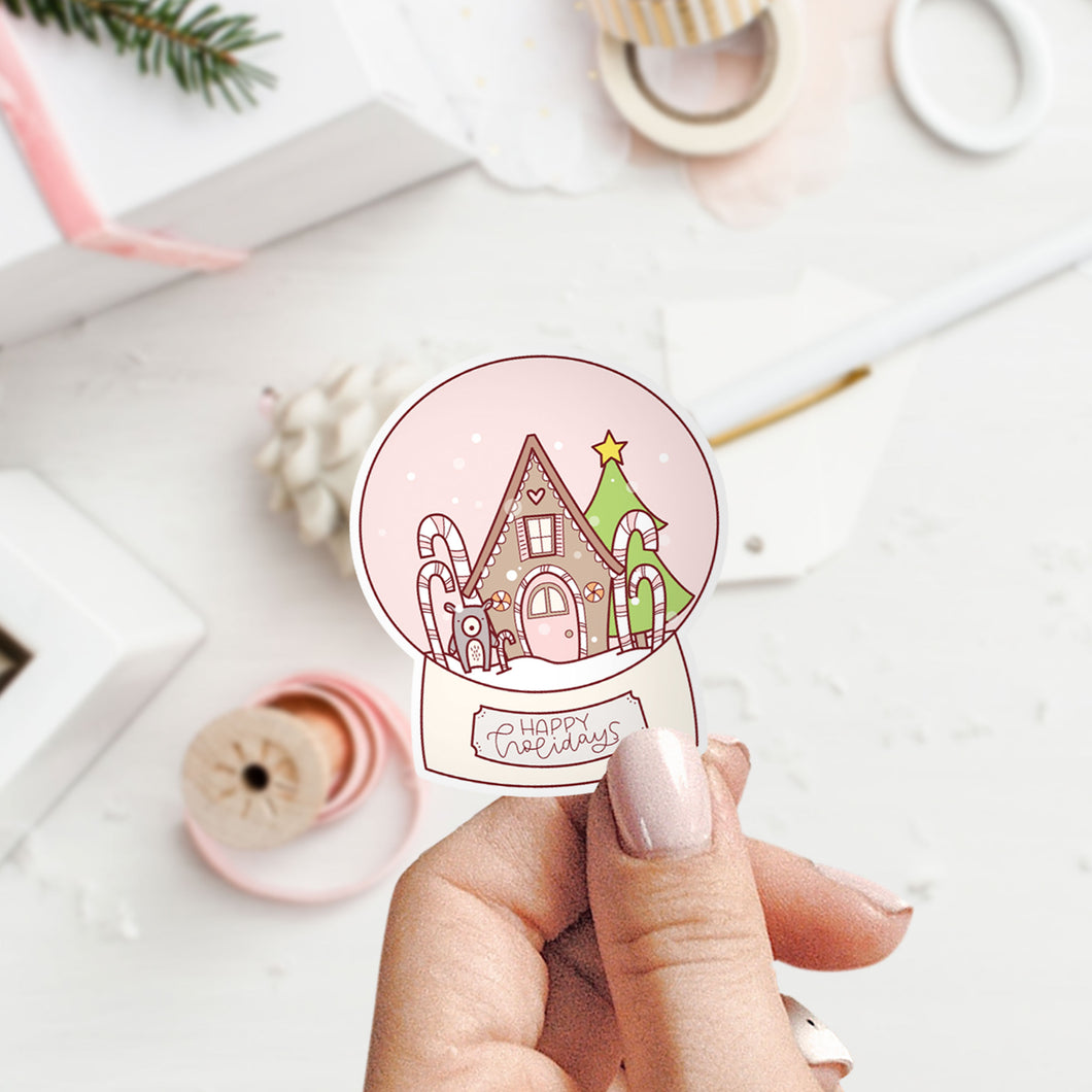 Christmas Sticker Snow Globe Sticker Vinyl Sticker by Holly Pixels