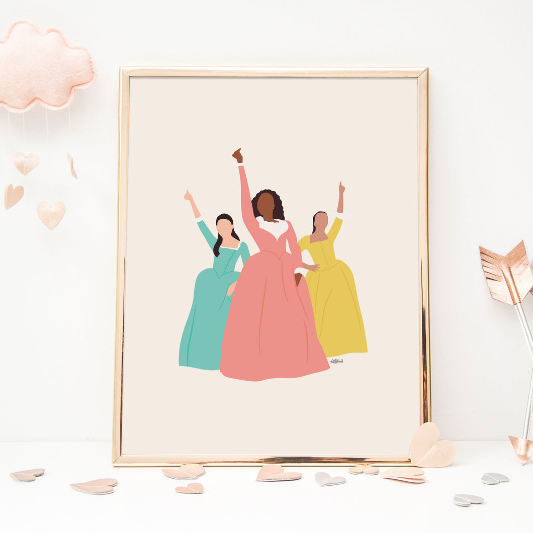 Schuyler Sisters Hamilton 5 x 7 Art Print by Holly Pixels