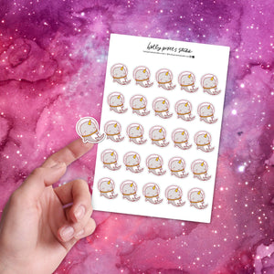 Space Narwhal Glossy Stickers Sheet by Holly Pixels