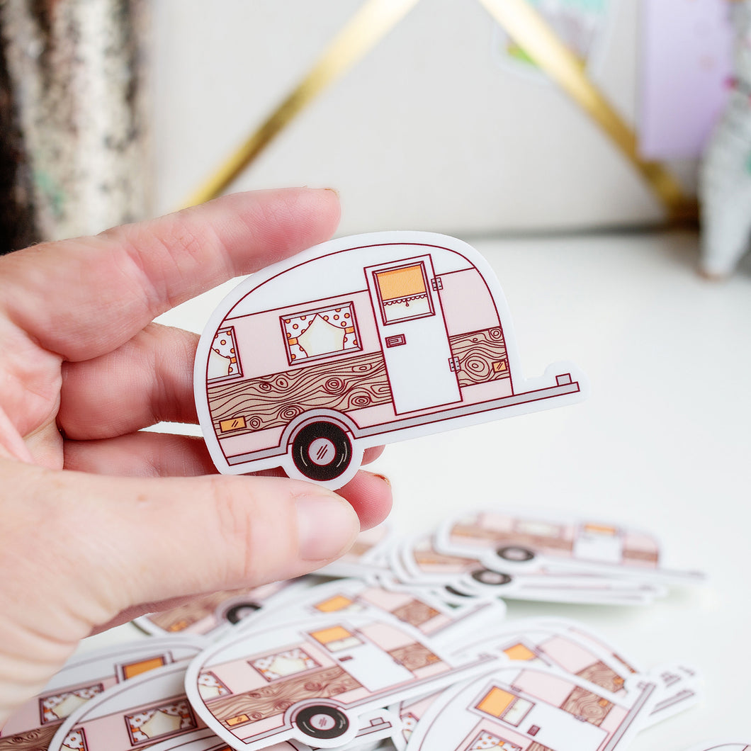 Happy Camper Vinyl Sticker by Holly Pixels
