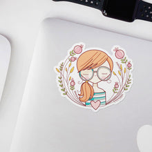 Load image into Gallery viewer, Girls with Glasses Judy Vinyl Sticker by Holly Pixels