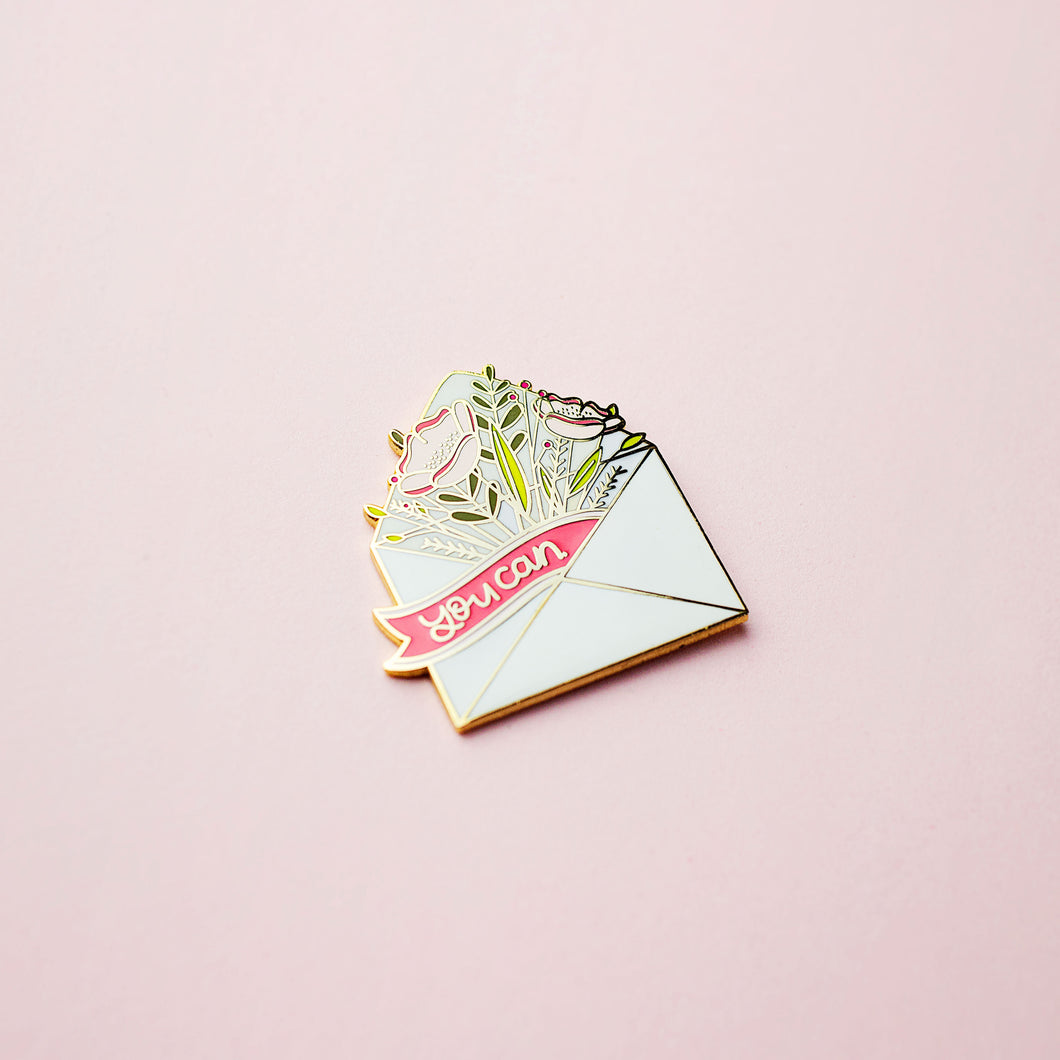 You Can Floral Envelope Inspirational Enamel Pin