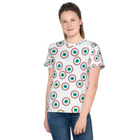 Purple Evil Eye all over print Youth crew neck t-shirt
