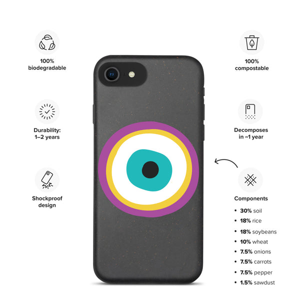 Purple Evil Eye Biodegradable phone case