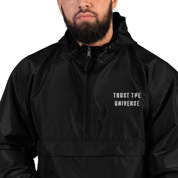 'TRUST THE UNIVERSE' Embroidered Champion Packable Jacket