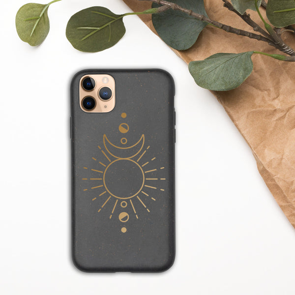 Moon Phase with Rays Biodegradable phone case