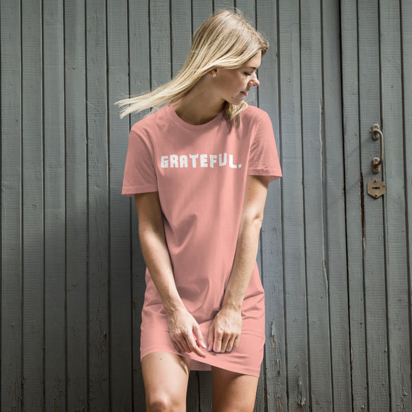 'GRATEFUL.' Organic cotton t-shirt dress