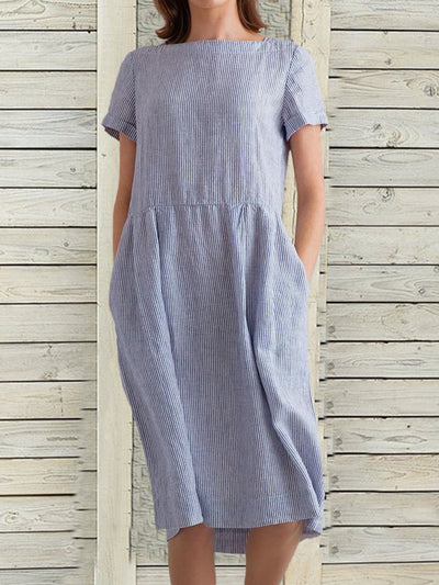 Loose Short Sleeves Pockets Striped Linen Dress