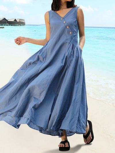 A-Line Everyday Casual Pleated Dress