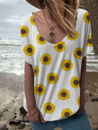 White Floral Casual Crew Neck Cotton-Blend Shirts & Tops