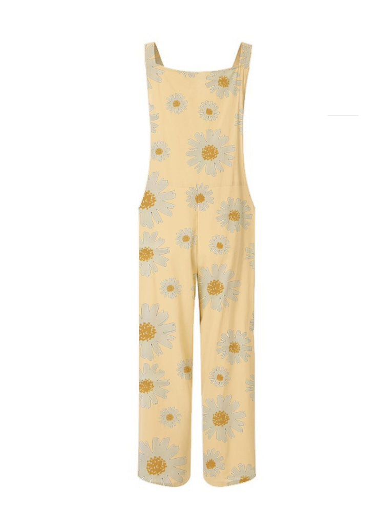 Daily casual overalls daisy print jumpsuit