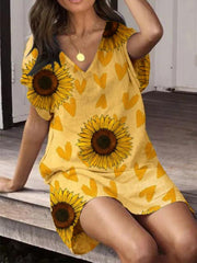 Yellow Simple Short Sleeve Printed Dresses