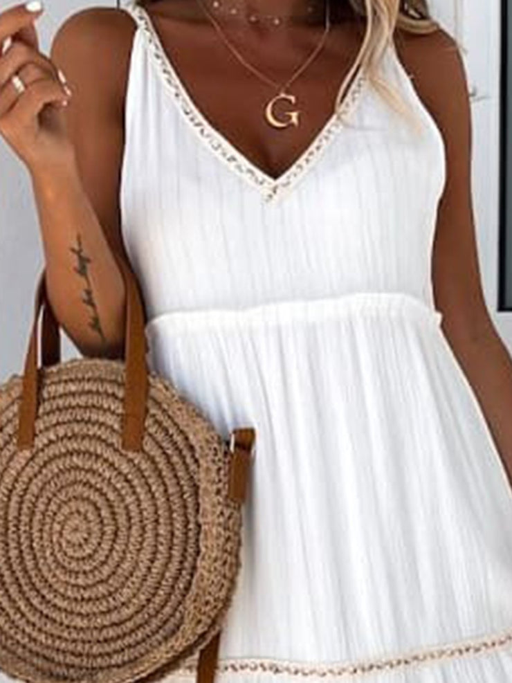 Women Sleeveless V-Neck Solid Shift Maxi Dresses
