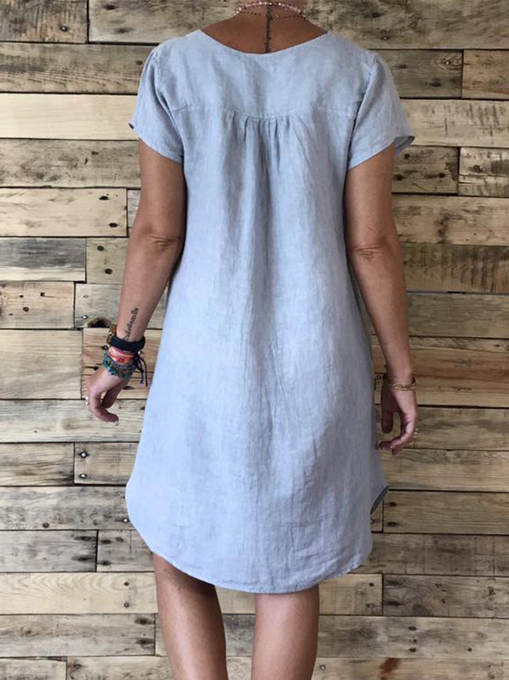 V Neck Women Casual Plain Dresses