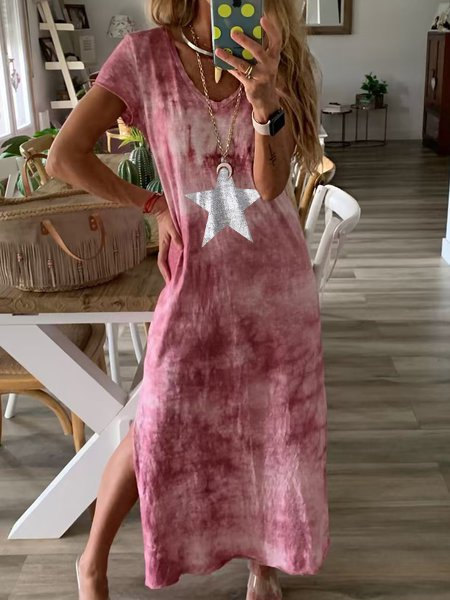 V Neck Cotton-Blend Short Sleeve Casual Dresses
