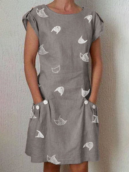 Cat Printed Dresses Crew Neck Women Dresses Shift Daily Casual