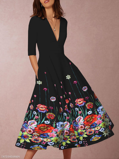 Vintage Floral V Neck Evening Party Midi Dress