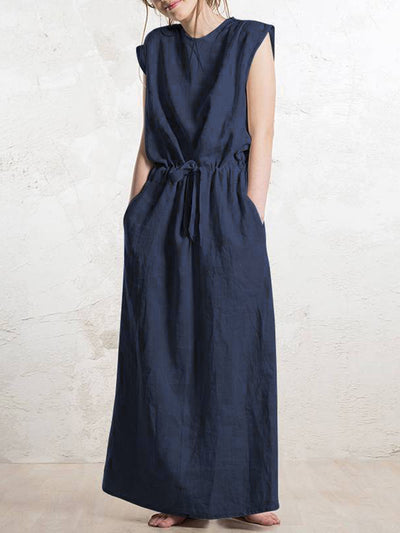 Linen Sleeveless Plain Casual Dresses